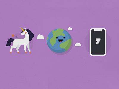 Explainer Look&Feel unicorn phone globe illustration flat animation