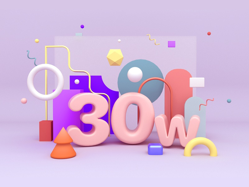 30th weeks branding render 3d cinema4d design color clean