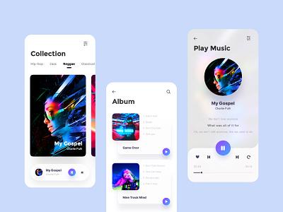 Music Player card players album music app clean design ui color