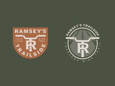 Ramsey's Trailside (alt badges) monogram badge design bike trail trail outdoors bike badge