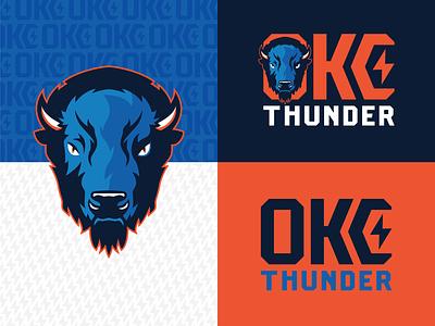 OKC Thundering Herd lightning bolt buffalo bison basketball nba thunder herd