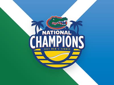 2021 Men's Tennis National Champions Logo Concept court palm tree orlando florida beach tennis typography sports champions design shield college