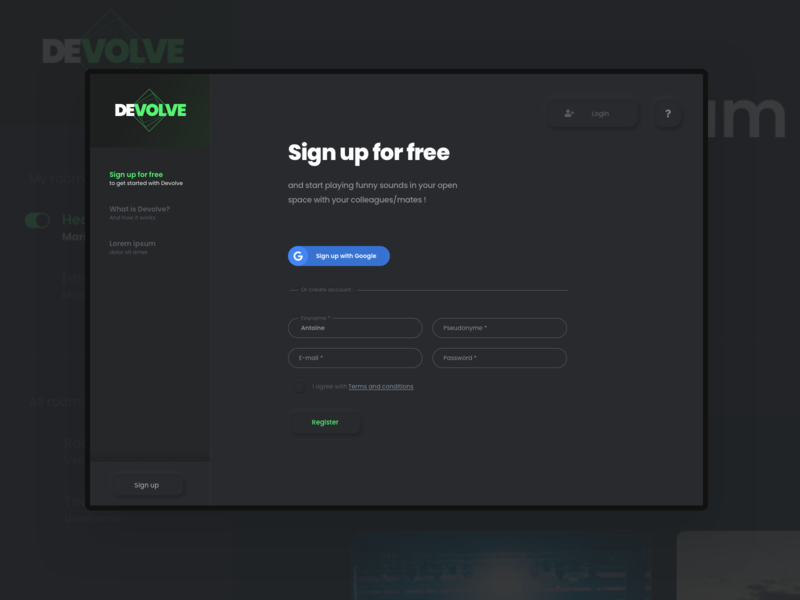 dayliUI - 001 - signup form