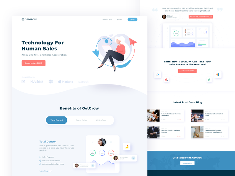 Marketing and all in one CRM landing page marketing agency ux ui design ux charts interface message webapp sales crm agency marketing inspiration illustration user interface ui inspiration website design web design web ui ui  ux ui