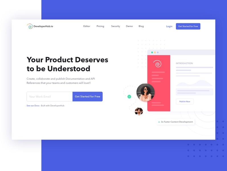 Product Redesign - DeveloperHub editor clean consistent creative digital product artificialintelligence website visual design inspiration uxui uxdesign product design ux user experience user interface document landing page product doc documentation