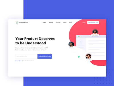 Product Redesign v2 - DeveloperHub web design product manager product design product developer ai document consistent jumbo landing page ui design ux user experience user interface website creative clean doc documentation