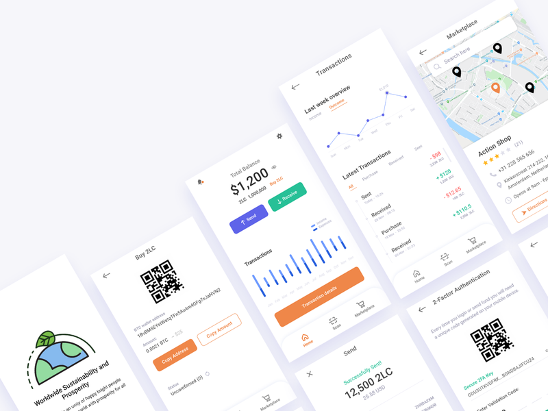 2local App redesign Visual Interfaces redesign product design clean wallet app ui app design sustainable bitcoin cryptocurrency crypto wallet crypto development user interface android app design android app ios app ios application app visual design