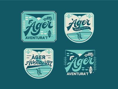 Àger Aventura't logotype explorations. paragliding sports 4x4 adventure kayak mountains illustration visual visual identity logo logotype