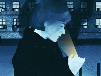 Victoria keep looking at her phone city night design graphic flat illustration