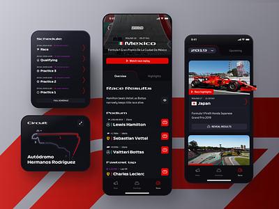 Formula 1 App – Races Exploration ios mobile app ui sports racing motorsport race circuit cards automotive cars driver dark ui dark mode formula1 formula one f1