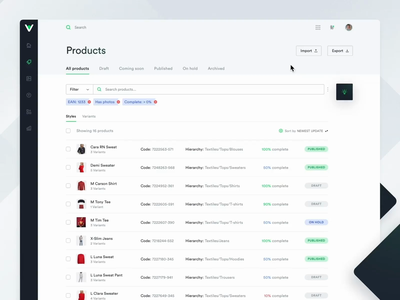 PionerLabs | Product Information Management Tool • Interactions dashboard admin panel sass form creator product management project management microinteractions interactions web app ui