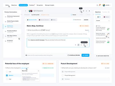 OKR Management Software | Conversations Module • Components questionnaire form milestones task management okr project management desktop dashboard web app