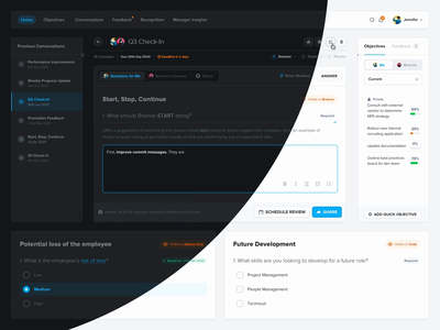 OKR Management Software | Conversations Dark Mode • Interactions project management microinteractions interactions web app dashboard desktop okr tasks task management dark mode milestones questionnaire form