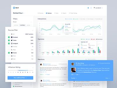 Benti - Social Media Monitoring Platform desktop mentions social media chart dashboard web app ui