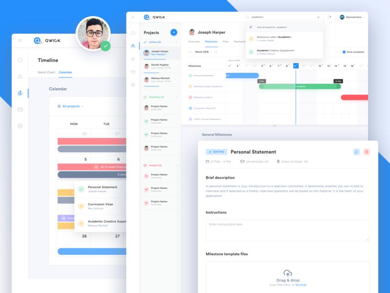 Qwick Platform - Closer Look app milestones education tasks task management project management desktop dashboard platform web app ui gantt chart