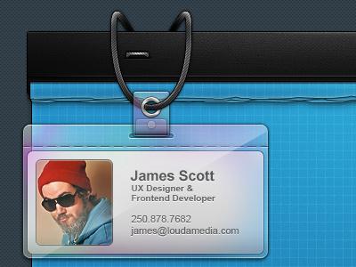 Louda - Temp Page - ID Badge gui ui interface clean dark blue blueprint id badge string depth texture splash