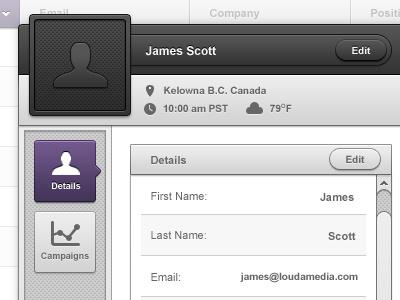Buzzbuilder - Contact Popup gui ui interface clean dark purple notes paper marketing admin panel