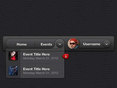UI - Header Elements ui gui interface clean dark header navigation account user dropdown notification
