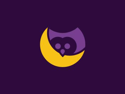 NightOwl - WIP branding identity logo design illustrator ai vector owl dark purple yellow moon night