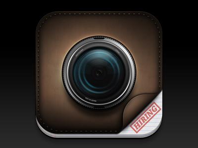 Camera - iOS Icon icon ios iphone ipad retina camera leather texture dark paper stamp lens