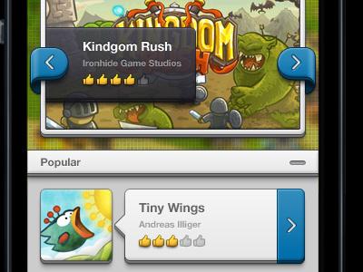 Chunky Game Store - iOS ui gui interface ios ios6 iphone 5 retina 1x 2x chunky fun bright cartoon blue yellow games store review rating arrows thumbs