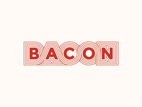 Bacon Lettering retro lettering food bacon red 70s illustration art