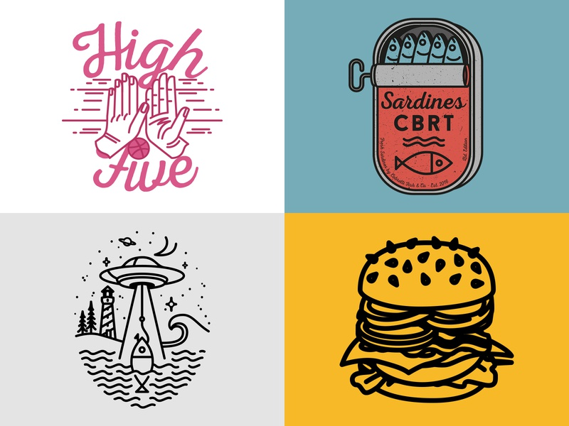 2018 ufo debut design logo line handmade burger branding vintage vector line art illustration