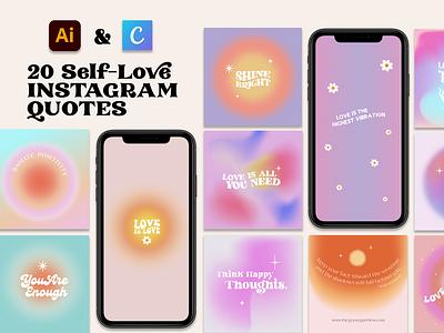 20 Instagram Self-Love Quotes & Gradients for Illustrator +Canva neon retro instagram quotes instagram gradients social media