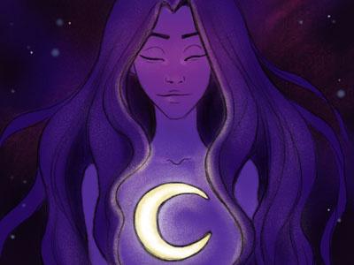 Moon Goddess spiritual girl galaxy moon goddess illustration universe goddess moon