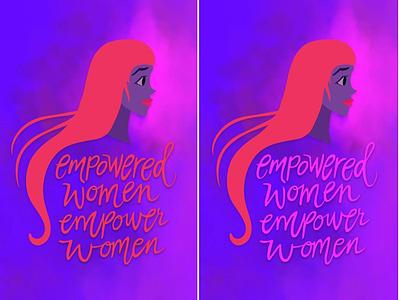 Empowered Women Empower women typography hand lettering graphic design digital art red neon illustration digital illustration vector art women empower women women empowerment