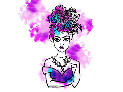 Mademoiselle fashion illustration water color vector art inked illustration illustration