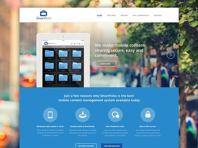 Smartfolio home page website web design mobile sharing