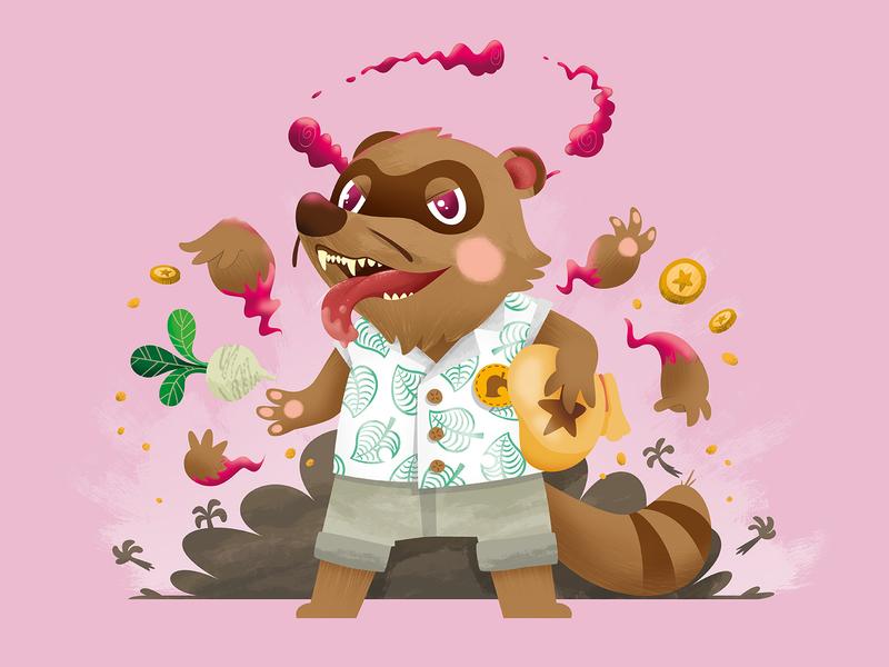 Tom Nook Gigantamax raccon raccoon leaf bells turnip pink illustration art illustration gamefreak nintendo switch nintendoswitch nintendo pokemon tomnook nook acnh gigantic dynamax gigantamax