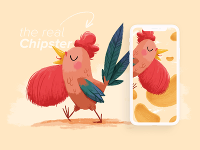 The real Chipster illustration rooster chips hipster beard chicken