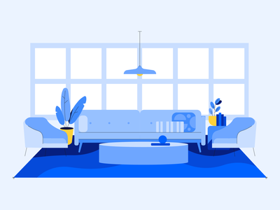 Lounge home office house blue illustration decor living room couch livingroom lounge