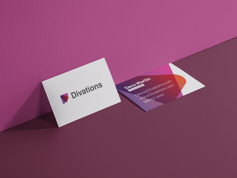 Business Card for Divations designs typography logo design vector business card