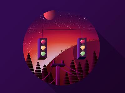 Hello Dribbble! nature traffic lights sunrise illustration illustrator