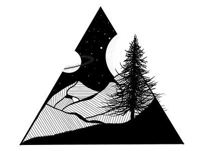 Dark Nights illustration bw black and white stars sky night dark