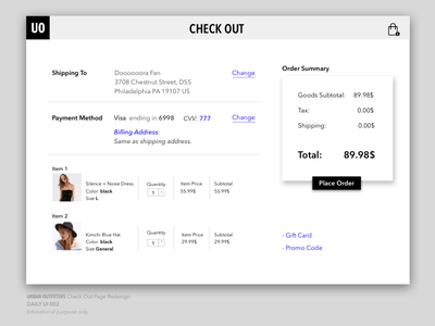 Daily UI 002  Check Out minimalism redesign