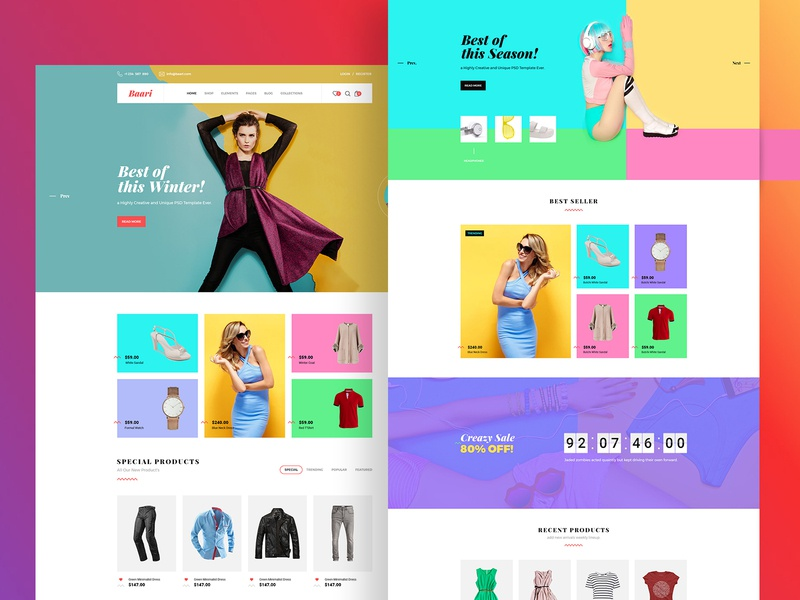 Baari ecommerce rewebsotech web design webdesign uiux ui design uidesign ui typography template redesign landing page homepage figma fashion ecommerce design ecommerce design creative corporate design business