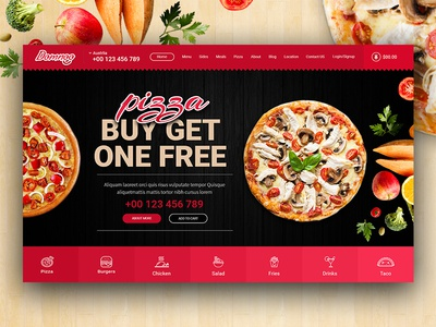 Domnoo Pizza & Restaurant PSD Template take away restaurant pizzeria pizza order modern meal kitchen foodie food cook chief