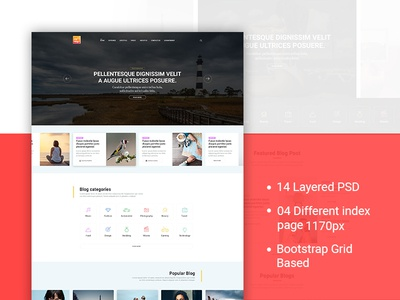 My Blog PSD Template professional post type post portfolio photography personal magazine blogging blogger blog template blog
