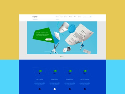 Lighter One Page Multipurpose PSD Template responsive portfolio one-page multipurpose modern landing-page creative corporate business bootstrap blue blog