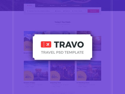 Travo - Hotel Booking & Travel PSD Template trip travo travel tour sea retina ready retina plane park package island holiday