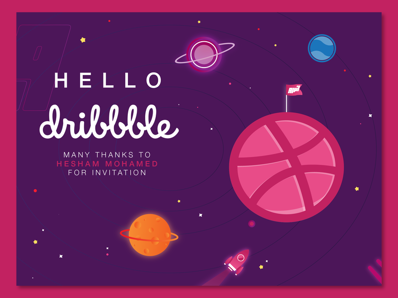 Hello dribbble flat design vector illustration