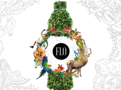 FLO Alkaline Water advertising photomanipulation art direction