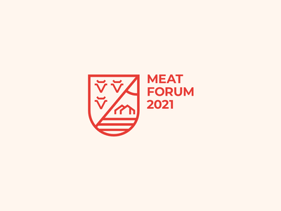 Meat Forum beef bull cow agriculture agronomy agro identity castle coat of arms shield emblem red meat mark design branding logo