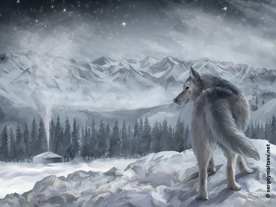 """Illustration for the movie """"Wolf in the history of the Turks"""" art illustration wind yutra steppe mountains turks cold winter wolf"""