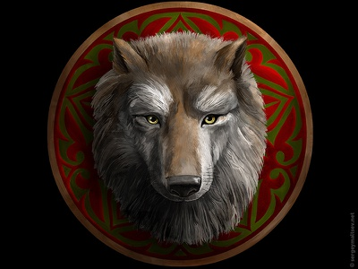 """Illustration for the movie """"Wolf in the history of the Turks"""" sergey maltsev animal asia pattern ornament shield opinion wolf"""