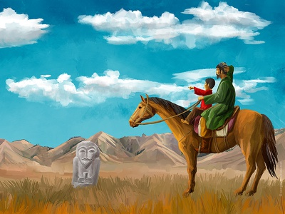 """Illustration for the movie """"Wolf in the history of the Turks"""" antiquity balbala digital art ancestors art tradition legend turks kazakhstan medium asia father and son boy"""
